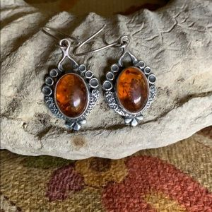 Jewelry - Vintage Sterling  and Amber Earrings